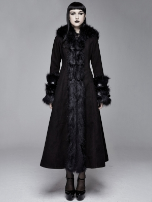 Black Gothic Fur Winter Warm Long Hooded Coat for Women