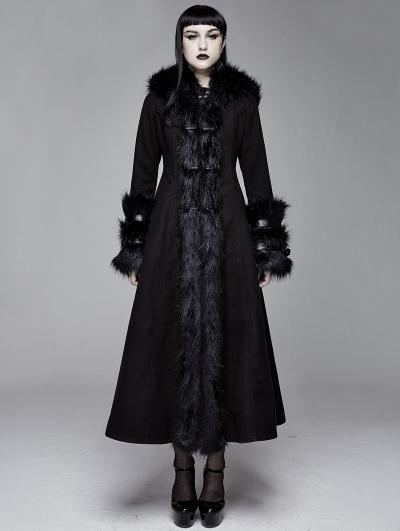 Black Gothic Fur Winter Warm Long Hooded Coat for Women