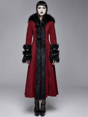 Red and Black Gothic Fur Winter Warm Long Hooded Coat for Women