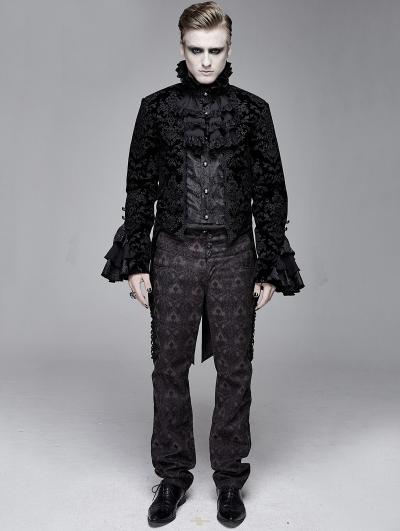 Black Vintage Gothic Victorian Tuxedo Party Jacquard Jacket for Men