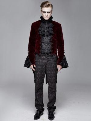 Red Vintage Gothic Victorian Tuxedo Party Velvet Jacket for Men