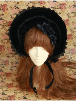 Black Velvet Flower Gothic Lolita Headdress