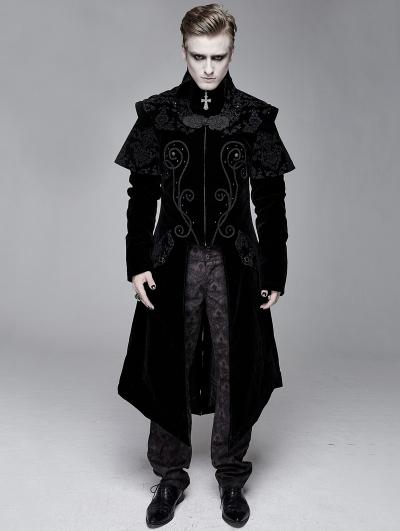 Black Gothic Victorian Vintage Long Velvet Tailcoat for Men