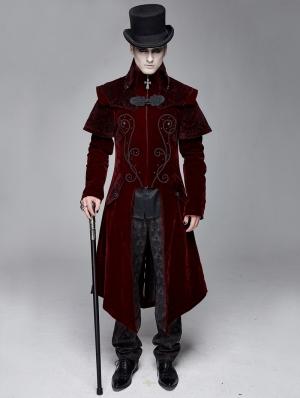 Red Gothic Victorian Vintage Long Velvet Tailcoat for Men