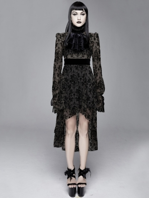 Black Vintage Pattern Sexy Gothic Long Sleeve High-Low Dress