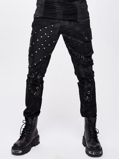 Black Gothic Punk Rock Rivet Long Pants for Men