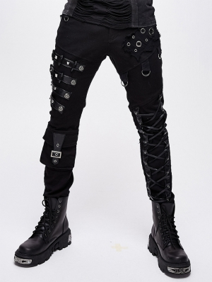 Black Gothic Punk Metal Long Pants for Men
