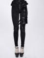 Black Women's Gothic Punk Rivet Long Trousers with Detachable Pocket