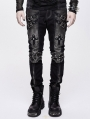 Black and Sliver Gothic Punk Metal Cross Long Trousers for Men