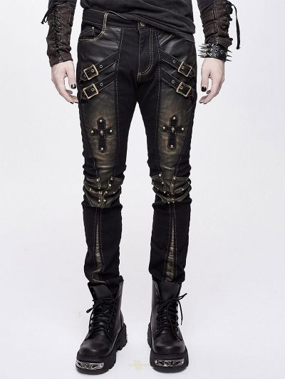 Black and Bronze Gothic Punk Metal Cross Long Trousers for Men