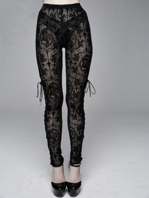 Black Vintage Gothic Transparent Legging for Women