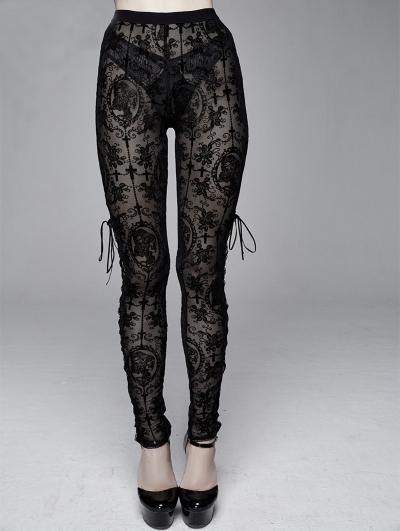 Black Vintage Gothic Transparent Legging for Women