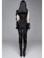 Black Gothic One-Shoulder Asymmetric Blouse for Women