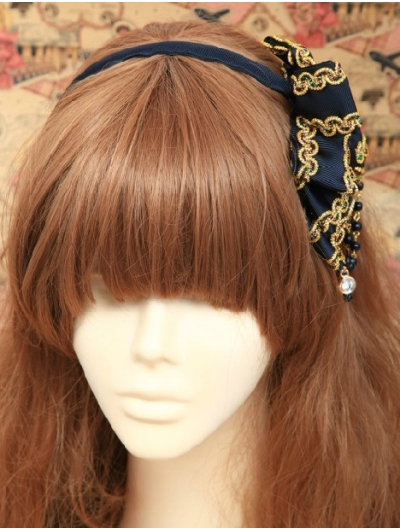Blue Beads Ribbon Lilta Headband