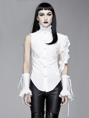 White Gothic One-Shoulder Asymmetric Blouse for Women