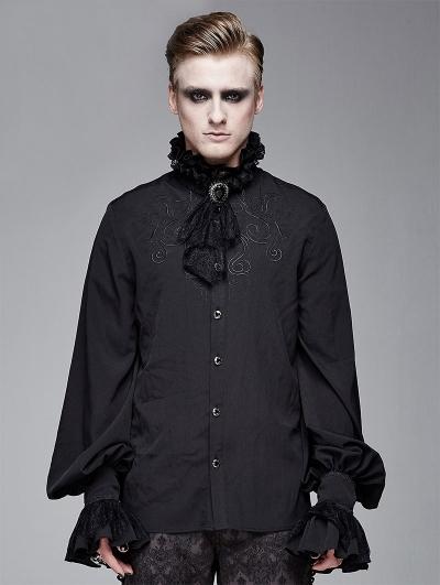 Black Vintage Gothic Palace Bowtie Shirt for Men