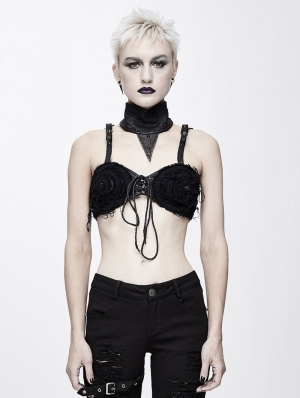 Black Gothic Punk Sexy Lingerie Top