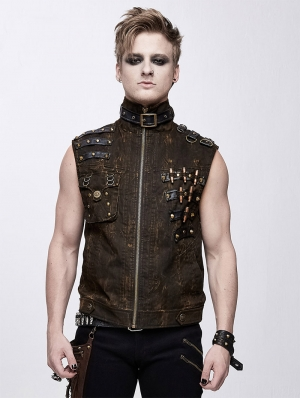 Brown Do Old Style Gothic Punk Rock Vest Top for Men