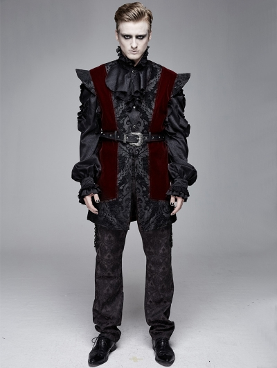 Black and Red Men's Vintage Gothic Waistcoat with Detachable Belt