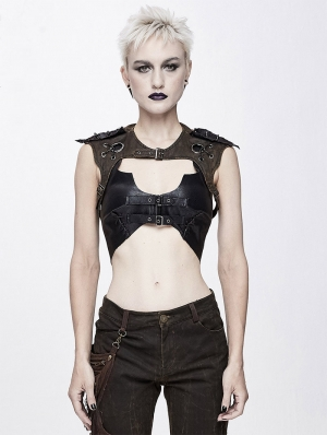 Black and Brown PU Leather Gothic Punk Sexy Top for Women