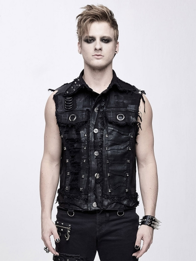Black Gothic Punk Rock Skull Vest Top for Men