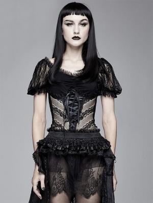 Black Gothic Sexy Short Sleeve Shirt for Women