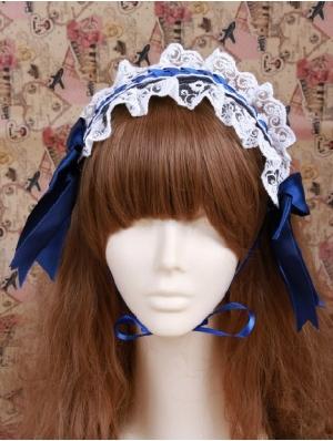 Blue Lace Bow Maid Lolita Headband