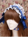 Blue Lace Bow Maid Lolita Headband