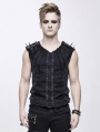 Black Gothic Punk Rock Rivet Sleeveless Vest Top for Men