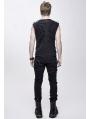 Black Gothic Punk Rock Rivet Sleeveless Vest Top for Men