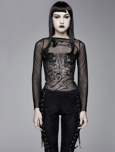 Black Gothic Sexy Long Sleeve Transparent T-Shirt for Women