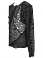 Black Gothic Punk Net Skull Long Sleeve T-Shirt for Men