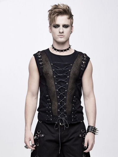 Black Gothic Punk Front Stap Sleeveless T-Shirt for Men