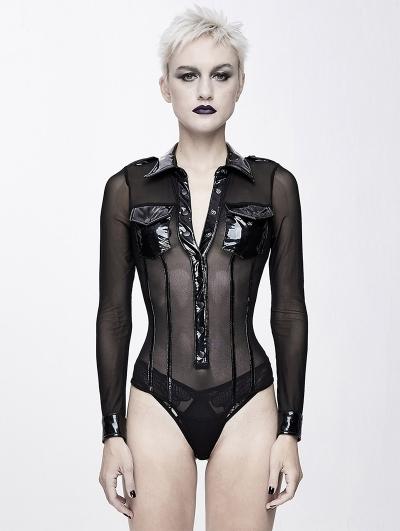 Black Gothic Siamese Military Uniform Semitransparent T-Shirt for Women