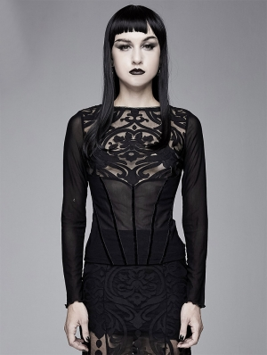 Black Vintage Gothic Sexy Long Sleeve T-Shirt for Women