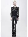 Black Gothic Punk Sexy Long Sleeve T-Shirt for Women