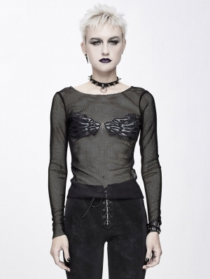 Black Gothic Punk Sexy Transparent Net Long Sleeve T-Shirt for Women