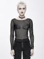 Black Gothic Punk Sexy Transparent Net Long Sleeve T-Shirt for Women
