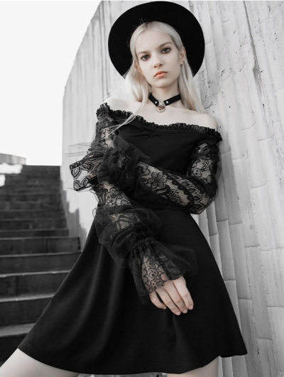 Black Street Fashion Gothic Off-the-Shoulder Lace Long Sleeve Short Dress