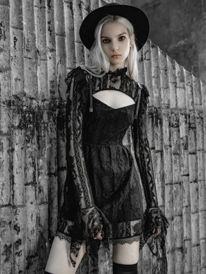 Black Street Fashion Gothic Lace Hollow-Out Long Sleeve Short Dress