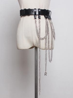 Black Gothic Punk PU Leather Chain Belt