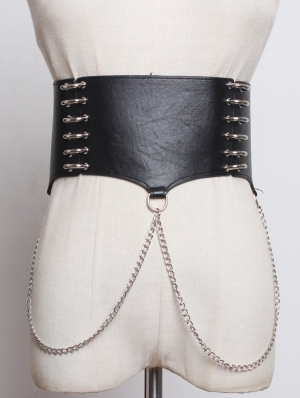 Black Gothic Punk PU Leather Chain Wide Belt