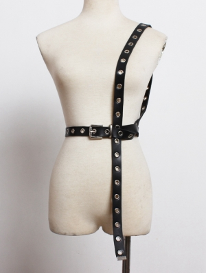 Black Gothic Punk PU Leather Belt