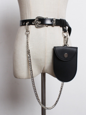 Black Vintage Gothic PU Leather Belt with Detachable Bag and Chain