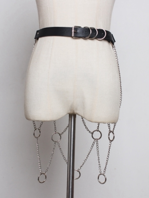 Black Gothic Punk PU Leather Belt with Ring and Chain Skirt