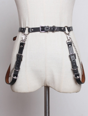 Black Gothic Punk PU Leather Chain Belt