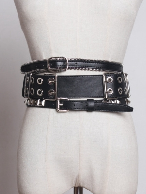 Black Gothic Punk PU Leather Rivet Zipper Wide Belt