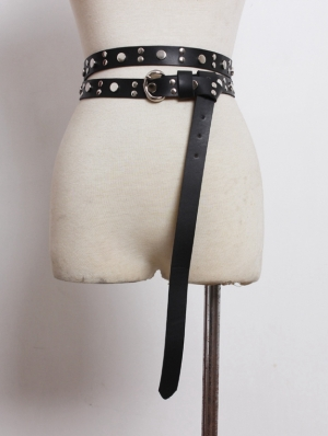 Black Gothic Punk PU Leather Rivet Long Belt