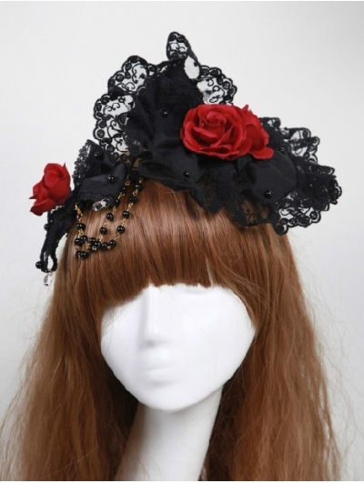 Black Flower Gothic Lolita Headband