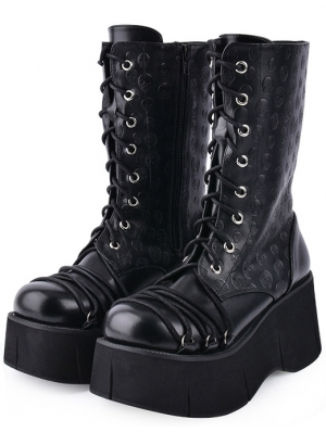 Black Gothic Punk Skull Lace Up Platform Mid-Calf Boots for Women